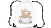 Children's Gym Sack Gymnastics Bag Motif Sheep - White, 35 x 44cm