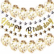 VEYLIN Happy Birthday Banner Decoration Set Gold & Silver Star Garlands Balloons with Round Gold Paillettes