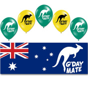 Australia Day G'Day Mate Party PVC Sign Banner Balloons Decoration Pack