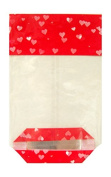 50 x RED LOVE HEARTS Valentine's Day Gift Bag Block Bottom Clear Candy Cello Treat Bags