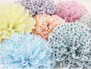 Syndecho 12pcs 25cm Polka Dots Hanging Tissue Paper Pom Poms Flower Ball Handmade for Weddings, Birthday Parties and Baby Showers