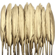 Coceca 55PCS Gold Feathers, 10cm - 15cm , for Various Crafts, Birthday Parties, Wedding and Party Dress-ups