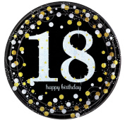 Boys Girls 18th Birthday Plates Party Celebration Paper Tableware Decorations Happy Birthday Gold Black Silver Sparkling Celebrations