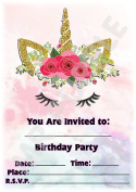 Unicorn Themed Children's Birthday Party Invites - Portrait Rainbow Pastel Design - Party Supplies / Accessories (Pack of 12 A5 Invitations)