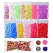 14 Colours Fishbowl Beads for Slime with 4 Colours Glitters and Fruit Nail Slices for Crafts Slime Making Home Decorations