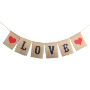 LUOEM LOVE Burlap Banners Sign Valentine's Day Garland Decoration Photo Props for Wedding Engagement Party Favours