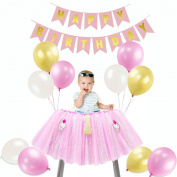 Tutu High Chair Skirt, Happy Birthday Banner- Balloons Set for 1st Birthday Decoration Party Supplies Girl Pink
