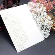 Wedding Invitation Card ,Xshuai® 10x Elegant White Laser Cut Wedding Invitations Cards Kit with Lace and Hollow Pattern Cardstock for Baby Shower Bridal Shower Engagement Birthday Fancy Party (White, 001