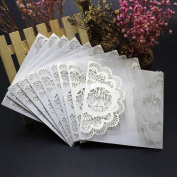 Wedding Invitation Card ,Xshuai® 10x Elegant White Laser Cut Wedding Invitations Cards Kit with Lace and Hollow Pattern Cardstock for Baby Shower Bridal Shower Engagement Birthday Fancy Party (White, 009