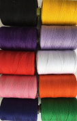 10 Sewing Overlocking 100% pure Cotton Threads for Sewing Machines / Hand Stitching 1,000 Yards Each - Ideal for Sewing, Quilting and much more use.