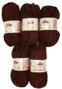 5 x 100 g Himalayan Dolphin Knitting Wool/Yarn Baby Wool 80336 Brown 500 Gramme Super Bulky