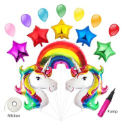 Takefuns Unicorn Balloon Party Supplies Birthday Decorations Baby Shower Huge Rainbow Mylar Foil Balloons