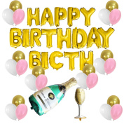 "KUNGYO Funny Birthday Party Decorations Kit-Gold ""HAPPY BIRTHDAY BITCH""Balloon Banner,Champagne & Goblet Mylar Foil Balloons, Gold Pink White Latex Balloons-Sassy and Classy Party Supplies"