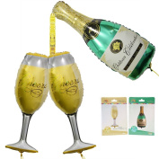 Champagne Balloon, Champagne Bottle and Goblet Hydrogen Balloons for Birthday Party Decorations Kit- Christmas New Year Company Event
