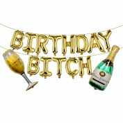 "KUMEED ""Birthday Bitch"" Balloons 41cm Gold Birthday Letter Foil Balloons Banner Set Champagne Bottle and Goblet Balloons for Party Decoration Supplies"