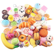 LiangGui PU Slow Rising Squishy Bread Cookie Donut Food Shape Slow Rising Hand Wrist Toy Stress Relive Toy for Kidds Adults 10 Pcs Colour Random