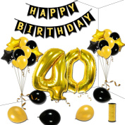 KUMEED 40th Birthday Theme Party Decorations Kit Gold Black Star Balloons Happy Birthday Banner Number 40 Big Foil Balloons Golden Ribbon