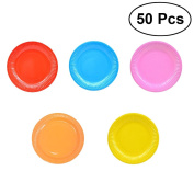 TOYMYTOY 50 Pcs Classic Assorted Colour Round All Occasion Disposable Paper Dinner Plates Birthday Party Supplies