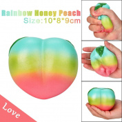 Toamen Newest Cute 11CM Rainbow Honey Peach Cream Scented Soft Squishies Charms Toy for Stress Relief and Time Killing, Cell Phone Pendant Strap Gift