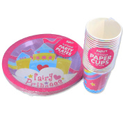 20x Girls Pink Paper Cups & Plates - Fairy Princess