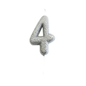 Age 4 Glitter Numeral Moulded Pick Candle Silver
