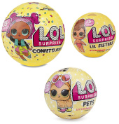 L.O.L. Surprise! Confetti Pop-Series 3-Wave 1 Unwrapping Toy Bundle with Lil Sister Series 3 and Pets Series 3