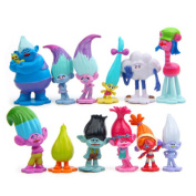 12 Pcs Troll Toys, Mini Trolls Figures Collectable Doll, Trolls Action Figures, Cake Toppers, 3cm - 7cm
