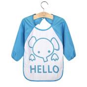 Baby Toddler Kids Long Sleeve Cartoon Letter Polar Fleece Feeding Waterproof Art Apron Bib Smock