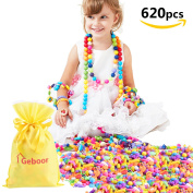 Geboor Pop Beads Sets 620Pcs DIY Jewellery Making Kit for Rings, Bracelets, Necklaces Educational Pop-Arty Beads Toy Gifts for Kids