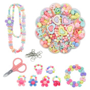 DIY Beads Set,ITOY & IGAME 471 PCS Acrylic Colourful DIY Beads Jewellery Making Set Necklace and Bracelet Crafts for Kids with Scissors,Steel Ring and Box