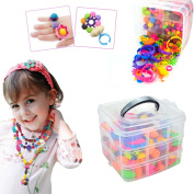 IAMGlobal 380 Pcs Pop Beads, Beads Snap, DIY Jewellery Making Kit, Fashion Kit, Party Favour Toys, Art Crafts Gifts, Educational Toys For Necklace and Bracelet and Rings For Kids Children Girls