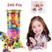 IAMGlobal 240 Pcs Pop Beads, Beads Snap, DIY Jewellery Making Kit, Fashion Kit, Party Favour Toys, Art Crafts Gifts, Educational Toys For Necklace and Bracelet and Rings For Kids Children Girls