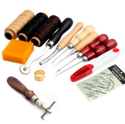 Hacloser 14Pcs Leather Craft Supplies and Tools Hand Stitching Sewing Tool Thread Awl Waxed Thimble Kit