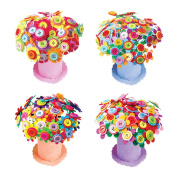 DIY Button Bouquets EVA Potted Toy Handmade Material Package Button Painting 40Pcs Buttons,Craft Iron Wire,Petal Bouquets Kit