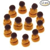 Ioffersuper 12 Pcs Mini Hat Brooch Cute Corsage Gift Pin Dress Scarves Shawl Clip,Ochre