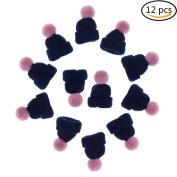 Ioffersuper 12 Pcs Mini Hat Brooch Cute Corsage Gift Pin Dress Scarves Shawl Clip,Navy