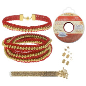 Refill - Beaded Flat Kumihimo Bracelet Set - Red/Gold - Exclusive Beadaholique Jewellery Kit