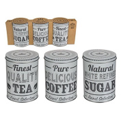 Set Of Three Round Metal Sugar Tea Coffee Pots Canister Set Kitchen Storage Jars Storing Containers