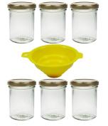 Viva Haushaltswaren # 61831 # 6 Jars 210ml Screw Top Jars, Jam Jars in Gold/with Filling Funnel Glass Storage Jar, Glass, Clear, 6.6 x 6.6 x 9.2 cm
