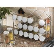AQS Compact 18 Glass Spice Jar Rack Bottle Jar Set Storage Holder Chrome 30cm L x 8.6cm W x 19cm H