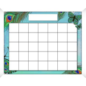 PTM Images Peacock Calendar/Planner Glass Dry Erase Board