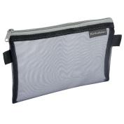 Unique Bargains Zip up Nylon Mesh Pen Writing Instruments stationery Holder Case Bag Dark Grey