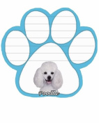 White Poodle Dog Paw Magnetic Note Pad
