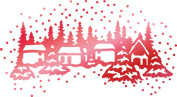 Couture Creations Let Every Day Be Christmas Hotfoil Stamp-Winter Town 6.1cm x 3.3cm