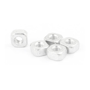 M6 Metal Square Shape Threaded Nut Silver Tone 5 Pcs