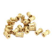 M3x8mmx5mm Female Threaded Brass Knurled Insert Embedded Nuts Gold Tone 20pcs