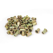 Unique Bargains M6x15mm Knurled Body Flat Head Blind Rivnuts Insert Rivet Nuts Nutserts 50pcs