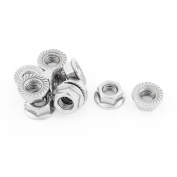 Unique Bargains M8 Thread Dia Stainless Steel Hex Hexagon Flange Lock Nuts 10pcs