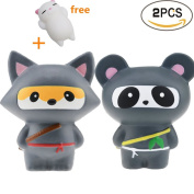 CosCosX 2 PCS Squishy toys, Ninja Fox and Ninja Panda Kawaii Jumbo Cream Scented Slow Rising Squishy Charms Squeeze Kid Toy for Stress Relief and Time Killing, Home Decoration