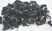 100 BLACK DUAL NAIL CLIPS FOR 2 RG59/RG6 COAXIAL WIRE 8CCDBL-BL-B 1.9cm LONG NAIL